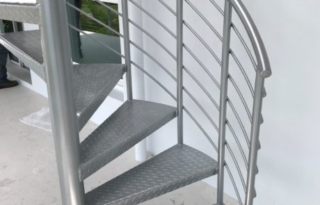 Outdoor metal spiral stairs.