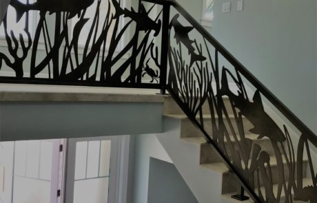 A custom interior metal railing.