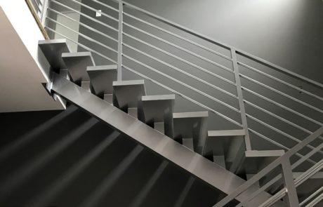 An interior metal railing.
